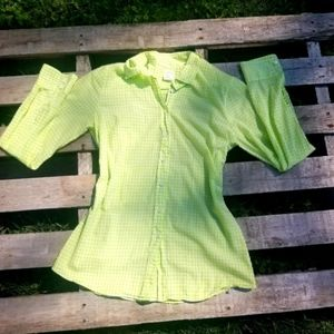 JCrew Lime Green Button Up The Perfect Shirt